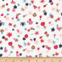 Cloud9 Fabrics Organics Garden Ramble Nani Multi Double Gauze White