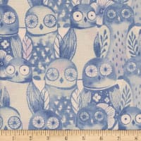 Cotton + Steel Firelight  Wise Owls  Lilac