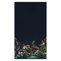 Cotton + Steel Rifle Paper Co. English Garden Growing Garden Boarder Metallic Navy