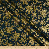 Cotton + Steel Rifle Paper Co. English Garden Toile Metallic Navy