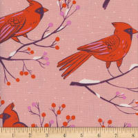 Cotton + Steel Frost Winter Cardinals Unbleached Pink