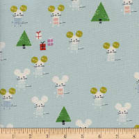 Cotton + Steel Frost Little Friends Unbleached Aqua