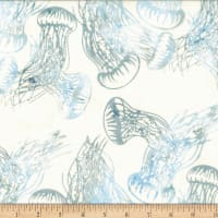Hoffman Bali Batik From The Depths Jellyfish Bluegrass