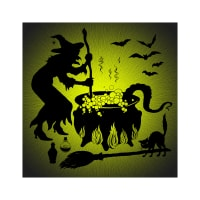 "Hoffman Digital Supernova Seasons 43"" Witch And Caldron Panel Chartreuse"