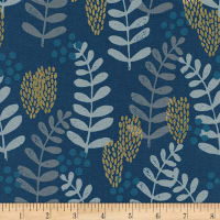 Cotton + Steel Imagined Landscapes Fern Dell Metallic Navy