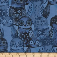 Cotton + Steel Eclipse Wise Owls Blue