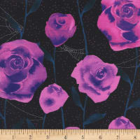 Cotton + Steel Eclipse Roses Black Metallic