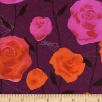 Cotton + Steel Eclipse Roses Wine Metallic