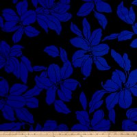 Liverpool Double Knit Mono Floral Royal/Black