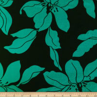 Liverpool Double Knit Mono Floral Jade/Black