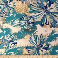 Liverpool Double Knit Splash Floral Turquoise/Grey