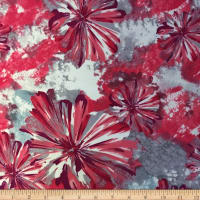 Liverpool Double Knit Splash Floral Coral/Silver