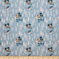 Mickey & Minnie Mouse Little Meadow Forest Flannel Blue