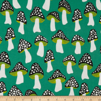 Cotton + Steel Front Yard Mushrooms Green