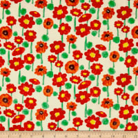 Kokka Trefle Cucito Flower Double Gauze Red