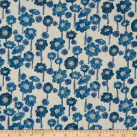 Kokka Trefle Cucito Flower Double Gauze Blue