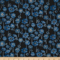 Kokka Trefle Cucito Flower Double Gauze Black