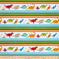 Dino Party Dinosaur Stripe White
