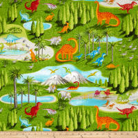 Dino Party Dinosaur Scenic Overall Green