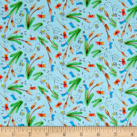 Toby Turtle Cattails And Dragonflies  Light Blue