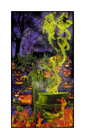 "Fright Night Halloween 24"" Panel Glow in the Dark Purple"