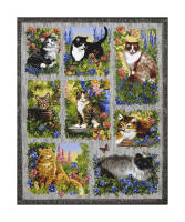 "Furr Ever Friends Cat 36"" Panel Gray"