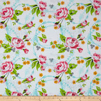 Roses & Arrows Large Rose Print White