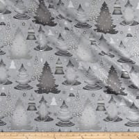 Elegant Christmas Christmas Trees Metallic Gray