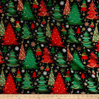 Elegant Christmas Christmas Trees Metallic Black