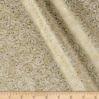 Elegant Christmas Scroll Metallic Ivory