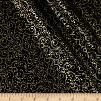 Elegant Christmas Scroll Metallic Black