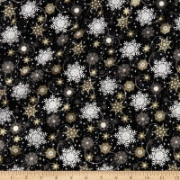 Elegant Christmas Snowflakes Metallic Black