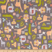 Safari Shuffle Mixed Animals Flannel Dark Gray