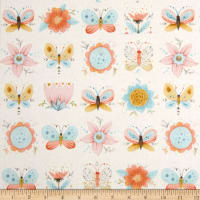Dream Catcher'S Flannel Floral Butterfly Cream/Multi