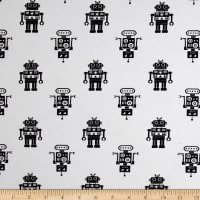 Fabric Merchants Cotton Lycra Jersey Knit Robots Black/White