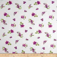 Fabric Merchants Cotton Lycra Jersey Knit Floral Plum/White