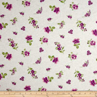Fabric Merchants 100% Cotton Jersey Knit Floral Plum/White