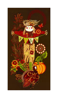 "Fall Festival Scarecrow 24"" Panel Brown"