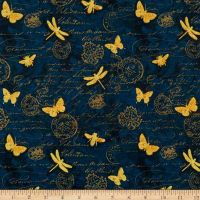Wilmington Hydrangea Dreams Gilded Butterflies Navy