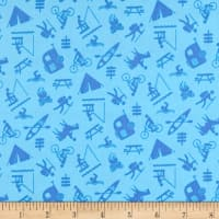 Happy Camper Camping Activities Blue