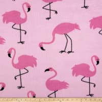 Fleece Prints Fancy Flamingos Fleece Pink