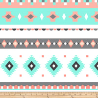 Fleece Prints Bohemian Diamond Stripe Fleece Aqua/Coral