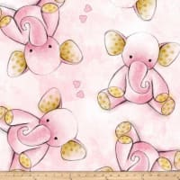 Fleece Prints Sleepytime Elephants Fleece Pink