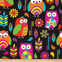 Heavenly Plush Fleece Bright Owls Heavenly Plush Fleece Black/Multi