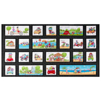 "Road Trip Road Trip Ladies Blocks 24"" Panel Black"