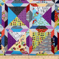 Road Trip Quilt Block Cheater Multi/Black
