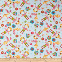 One Stitch At A Time Tossed Allover Doll Sky Blue
