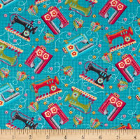 One Stitch At A Time Tossed Sewing Machines Teal