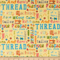One Stitch At A Time Sewing Words Yellow