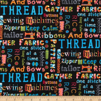One Stitch At A Time Sewing Words Black